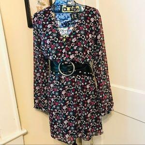 Express Floral Surplus Dress EUC